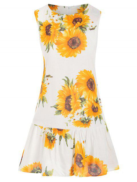 8fcbdda67f5d 17% OFF] 2019 Sunflower Print Flare Sleeveless Dress In GOLDENROD ...