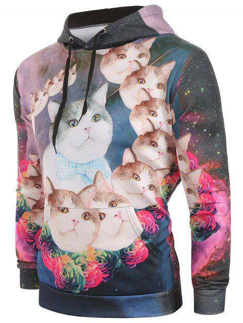 Galaxy Cats Flowers Print Pullover Hoodie - multicolor 2XL