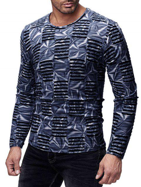 Long Sleeves Slim Fit Ripped T-shirt - BLUEBERRY BLUE XL