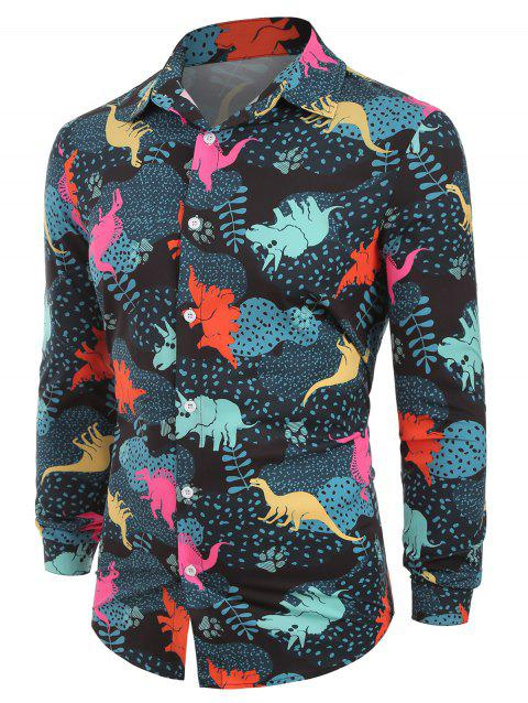 Button Up Leaves Dinosaur Animals Print Long Sleeves Shirt - multicolor L