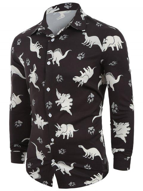 Animals Print Button Up Long Sleeves Casual Shirt - BLACK L