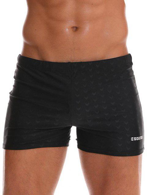 Letter Print Drawstring Swim Trunks - BLACK 2XL