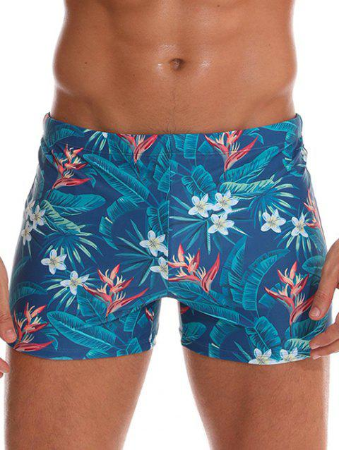 Tropical Print Drawstring Swimming Trunks - multicolor T M