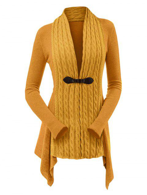 Cable Knit Buckle Asymmetrical Cardigan - SANDY BROWN L