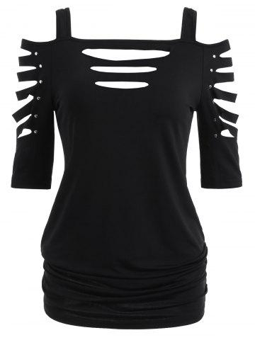Shoulder Cut Lacerated Sleeve T-shirt