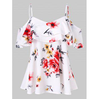 6a662f26854df3 Spaghetti Strap Floral Print Open Shoulder Blouse