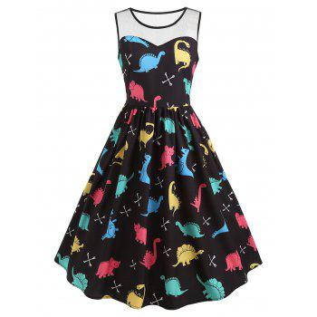 Cartoon Dinosaur Print Vintage Dress