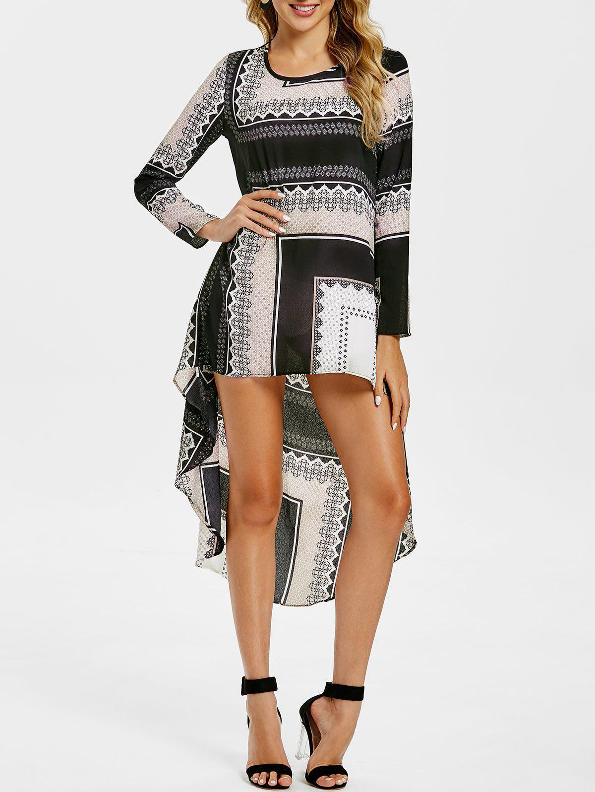 Tribal Print High Low Long Sleeve Dress - COLORMIX M