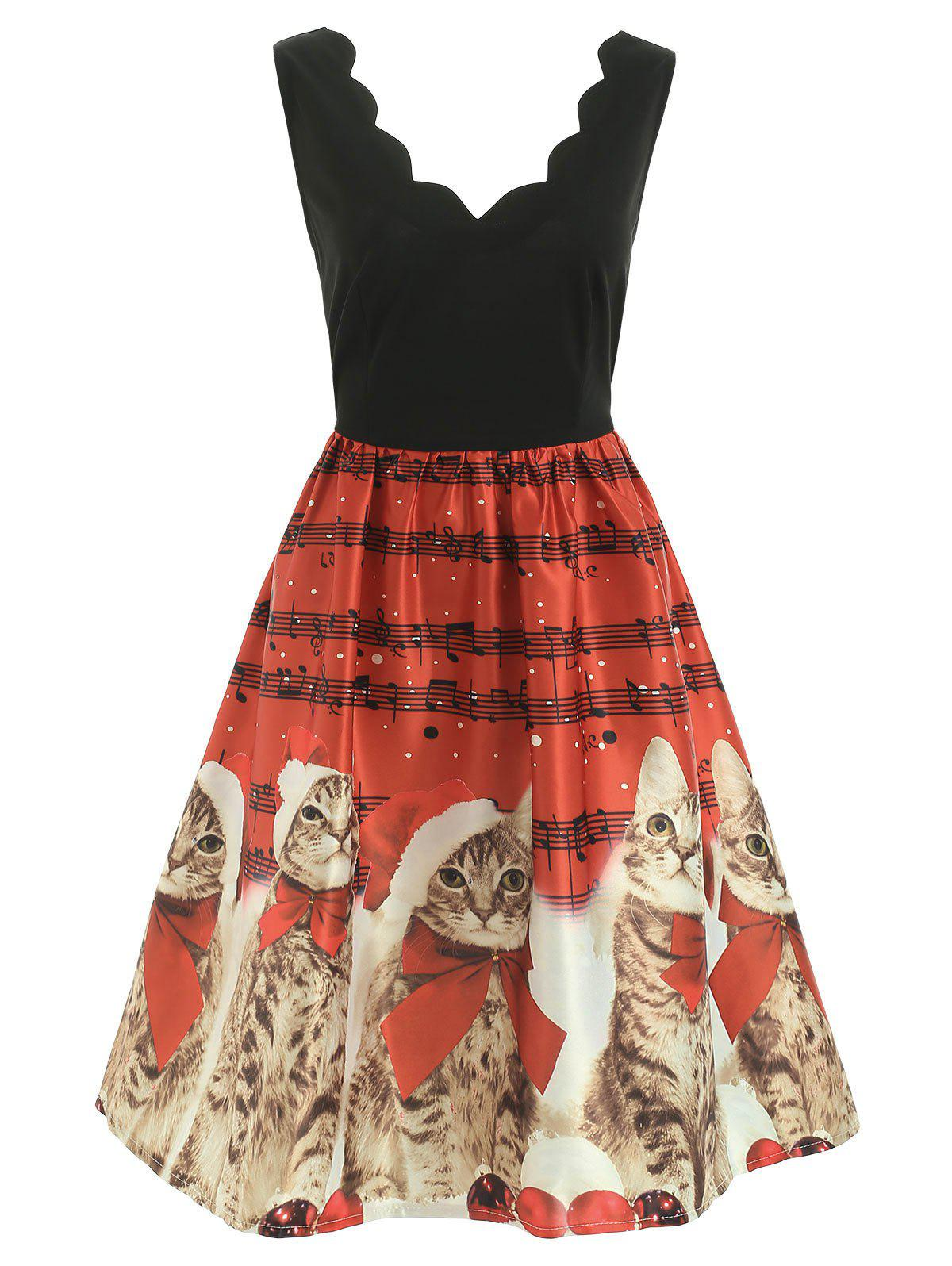 Christmas Cats Musical Notes Print Sleeveless Dress - RED M