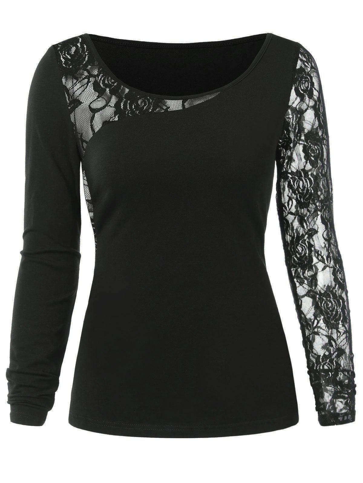 Lace Insert T-shirt - BLACK XL