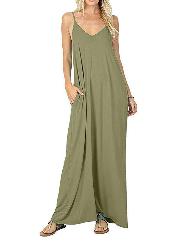 Front Pocket Solid Floor Length Dress - ARMY GREEN 2XL