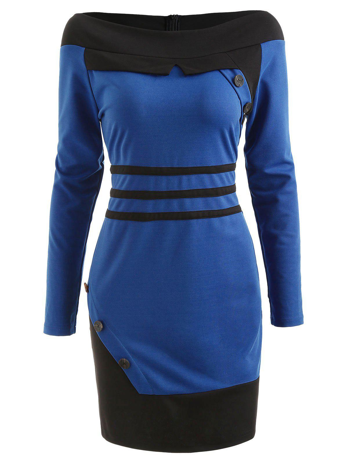 Long Sleeve Color Block Bodycon Dress - BLUE IVY 2XL