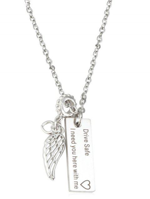 Valentine Gift Engraved Drive Safe Wing Necklace - SILVER