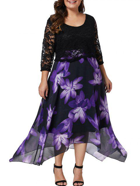 Plus Size Lace Sleeve Floral Print Asymmetrical Dress - BLACK 5X
