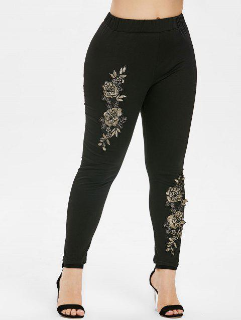 Plus Size Floral Embroidery Elastic Waist Leggings - BLACK 4X