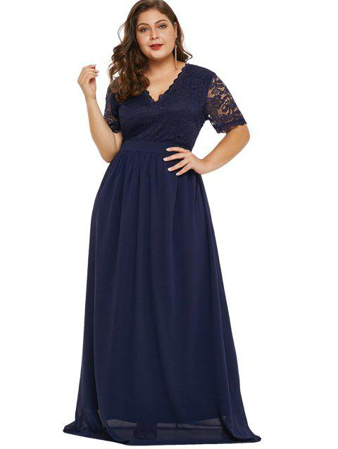 17% OFF] 2019 Plus Size Plunging Neck Lace Sleeve Maxi Dress In DEEP ...