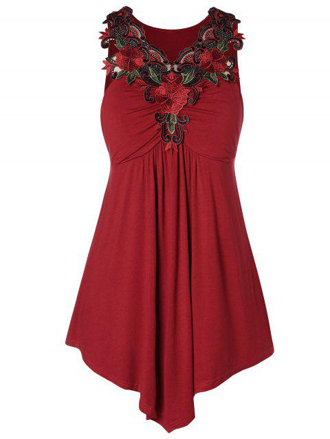 Plus Size Tunic Embroidered Tank Top - RED WINE L
