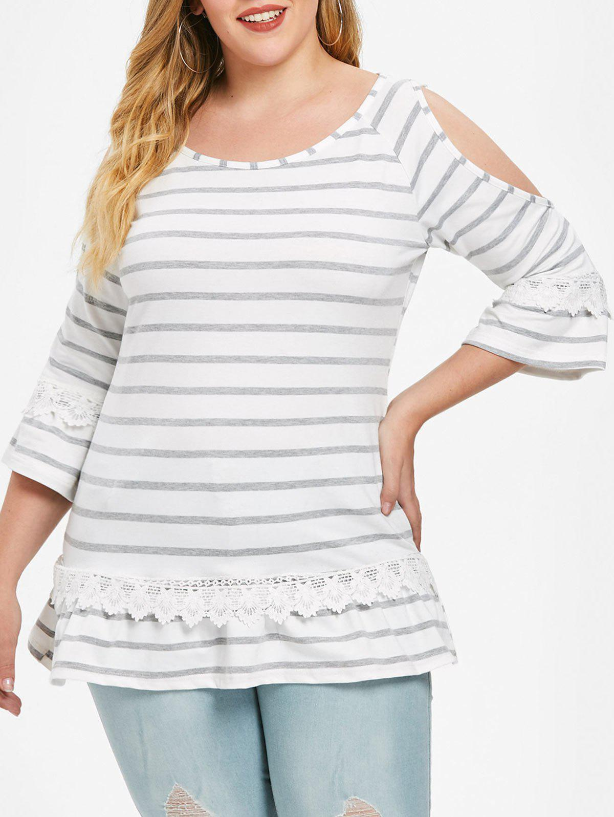 Open Shoulder Plus Size Striped T-shirt - WHITE 4X