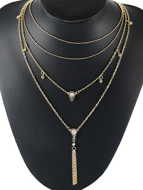 Water Drop Design Rhinestone Multilayered Necklace - GOLD