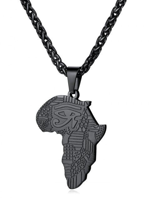 Stainless Steel Africa Map Eye Design Necklace - BLACK