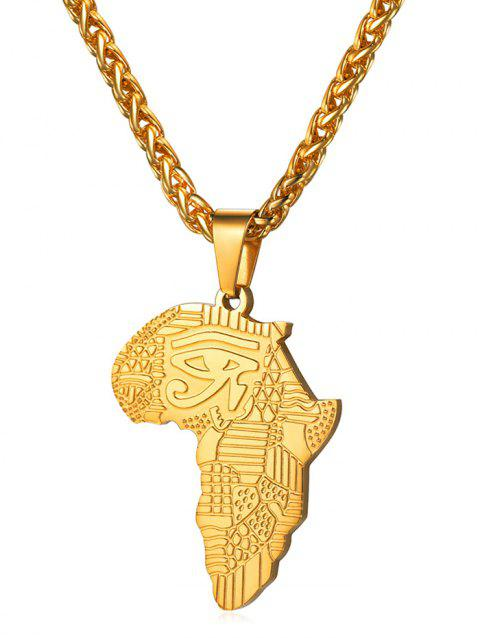 Stainless Steel Africa Map Eye Design Necklace - GOLD