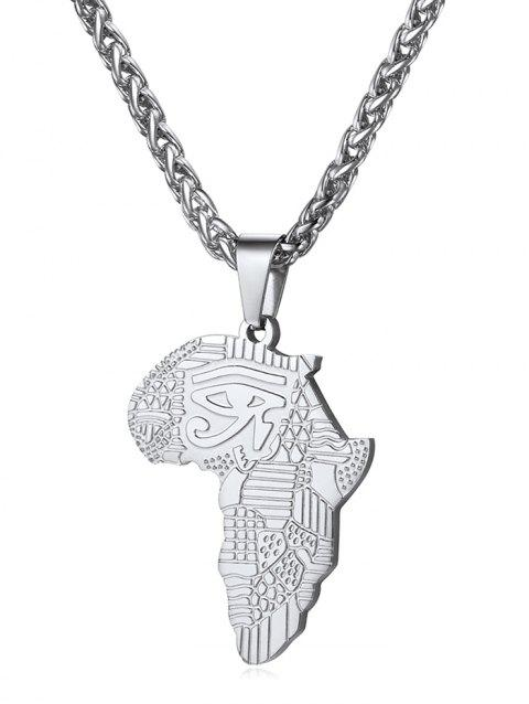 Stainless Steel Africa Map Eye Design Necklace - SILVER