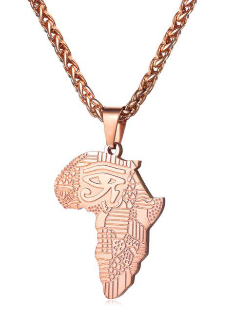 Stainless Steel Africa Map Eye Design Necklace - ROSE GOLD