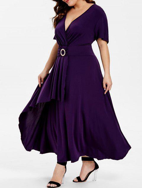 f059952ac9f 39% OFF  2019 Short Sleeve High Waist Flare Dress In PURPLE IRIS ...