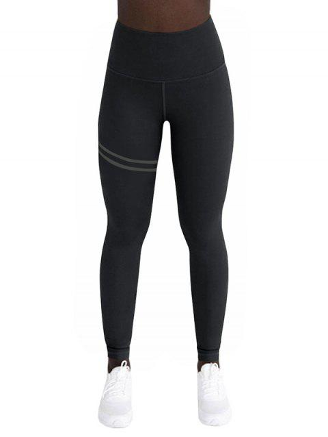 d4ab9e36d22d14 17% OFF] 2019 High Waisted Stripes Sports Leggings In NATURAL BLACK ...