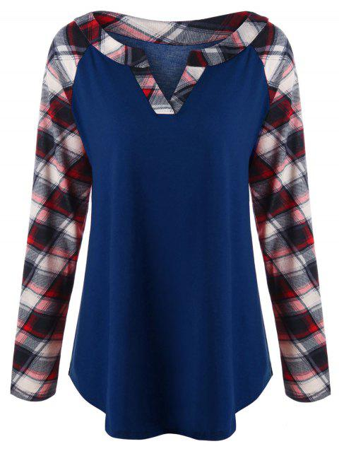 Plus Size Raglan Sleeve Plaid Top - LAPIS BLUE 3XL