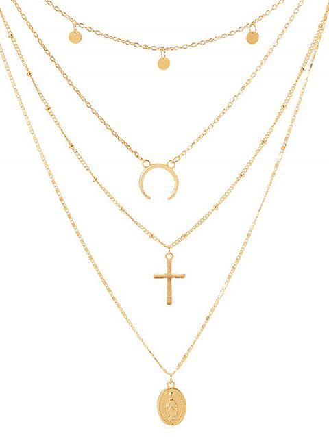 Cross Shape Coin Decoration Multilayered Necklace