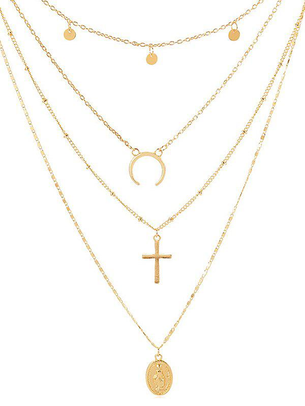 Cross Shape Coin Decoration Multilayered Necklace - GOLD