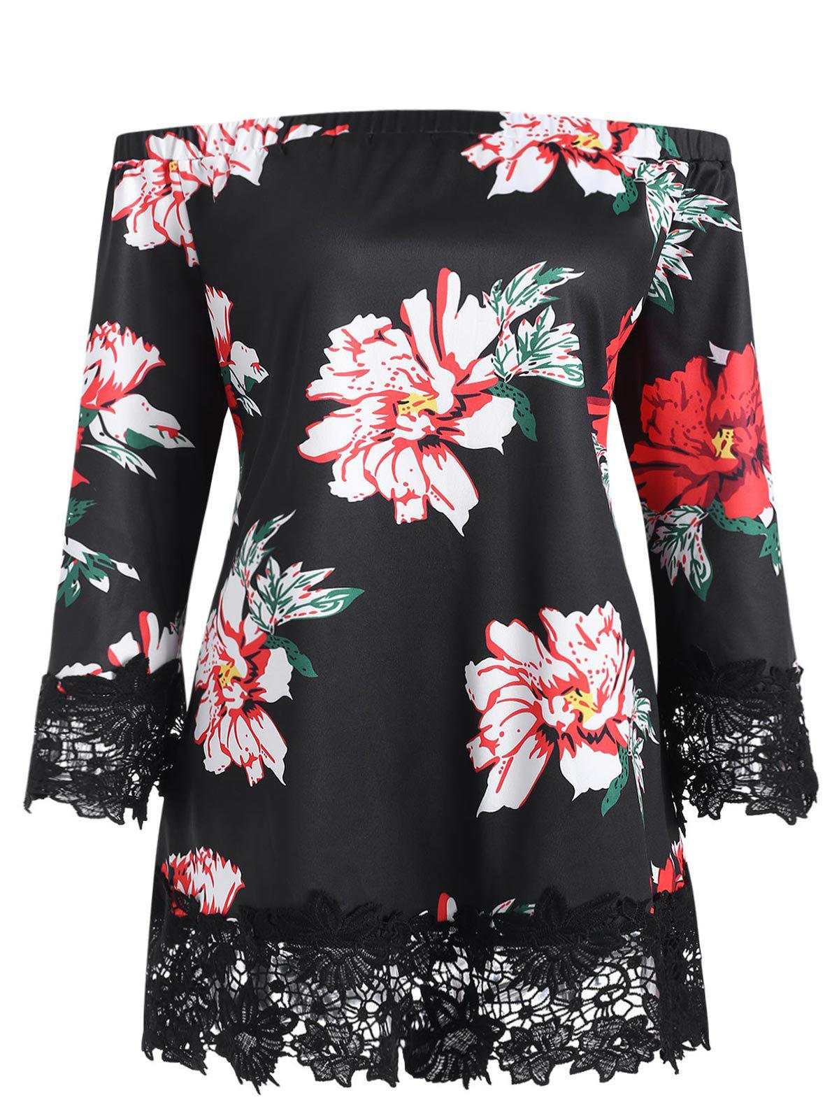 Plus Size Off The Shoulder Floral Print Lace Trim Blouse - BLACK 4X