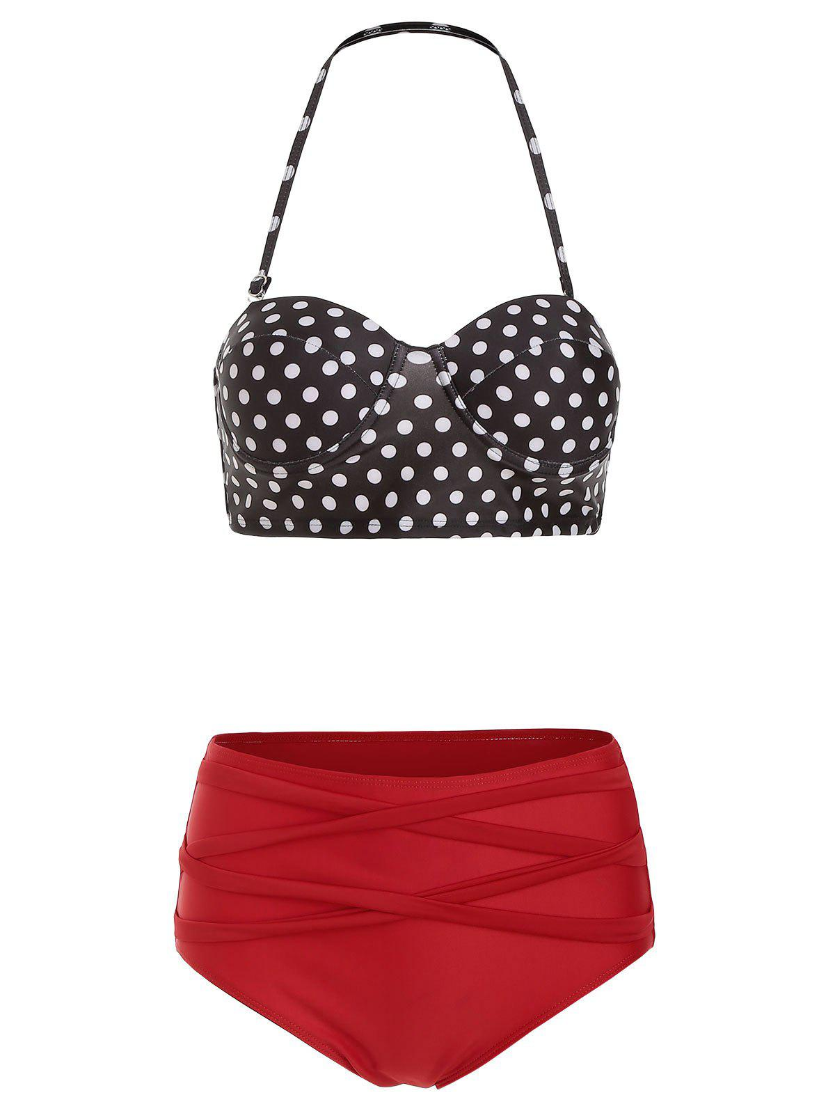 Halter Polka Dot Criss Cross Bikini Set - RED M