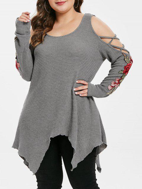 Plus Size Cold Shoulder Floral Embroidery Sweater Long Sleeve - DARK GRAY 1X