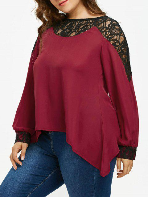 Lace Insert Plus Size Long Sleeve Blouse - RED WINE 3X