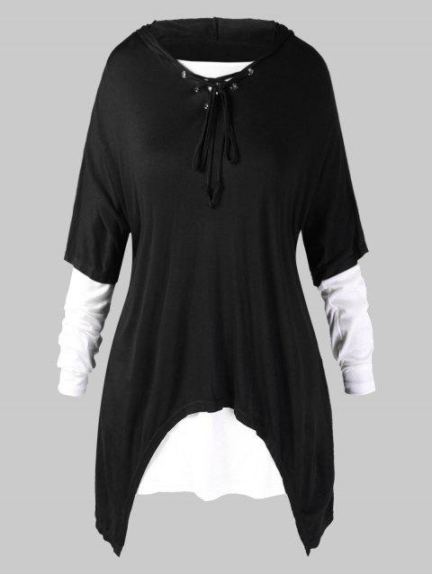 Plus Size Hooded Lace Up Asymmetrical Top with T-shirt - BLACK 4X