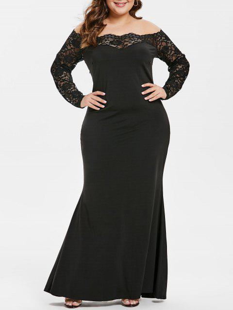 2f7c0c109837a 2019 Plus Size Off The Shoulder Lace Sleeve Maxi Dress In BLACK 4X ...
