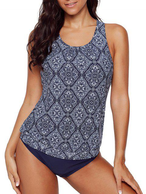 Racerback Tribal Print Tankini Set - MIDNIGHT BLUE XL