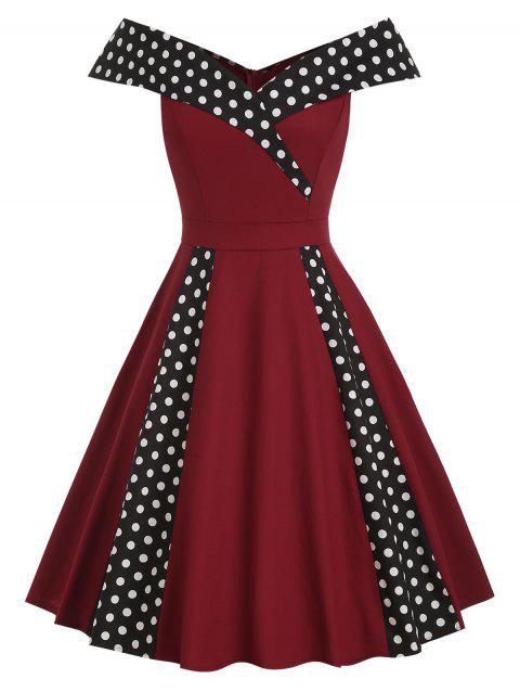 Vintage Off Shoulder Dotted Fit and Flare Dress - RED WINE 2XL