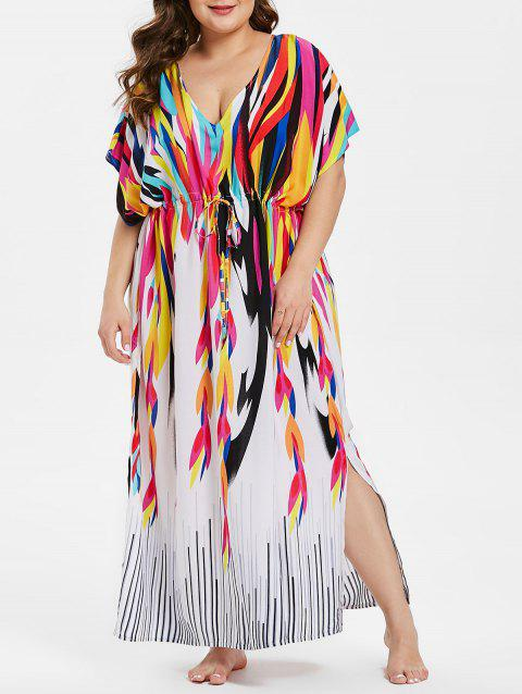 Plus Size Drawstring Waist Printed Cover Up - multicolor ONE SIZE