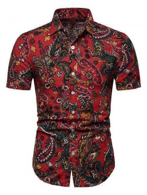 Floral Paisley Print Short Sleeve Shirt - RED XS