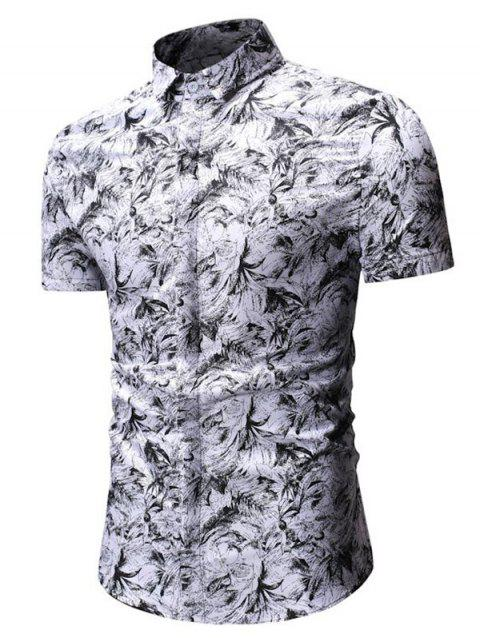 Button Up Palm Leaf Print Shirt - WHITE L