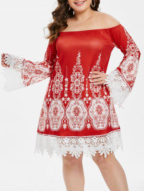 Plus Size Off The Shoulder Tribal Print Lace Insert Dress - RED 5X