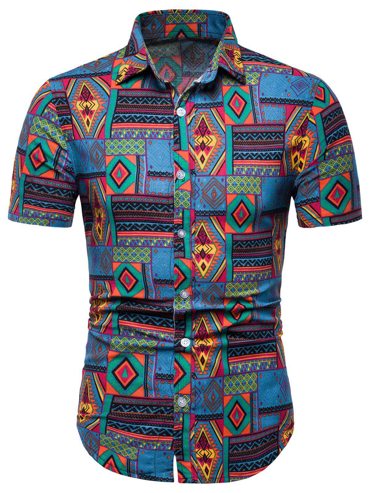 Ethnic Tribal Geometric Print Casual Shirt - BLUE XL