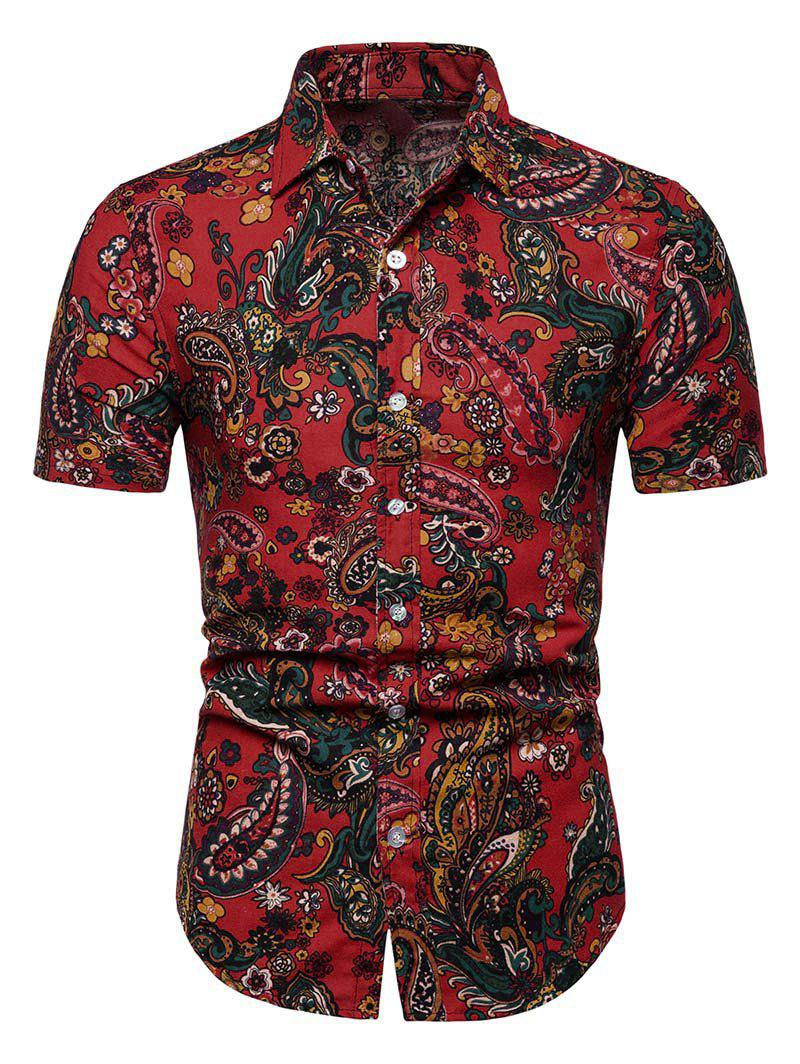 Floral Paisley Print Short Sleeve Shirt - RED S