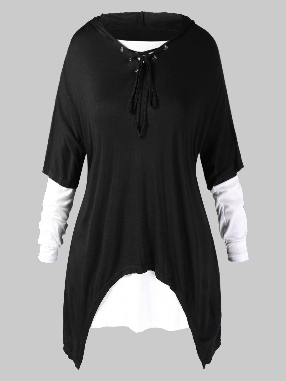 Plus Size Hooded Lace Up Asymmetrical Top with T-shirt - BLACK L