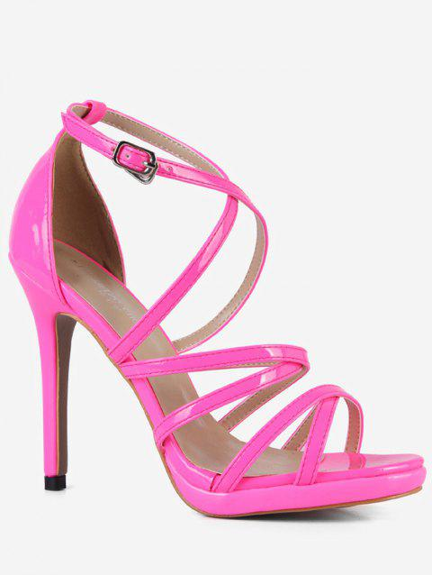 Criss Cross PU Leather Sandals - PINK EU 37