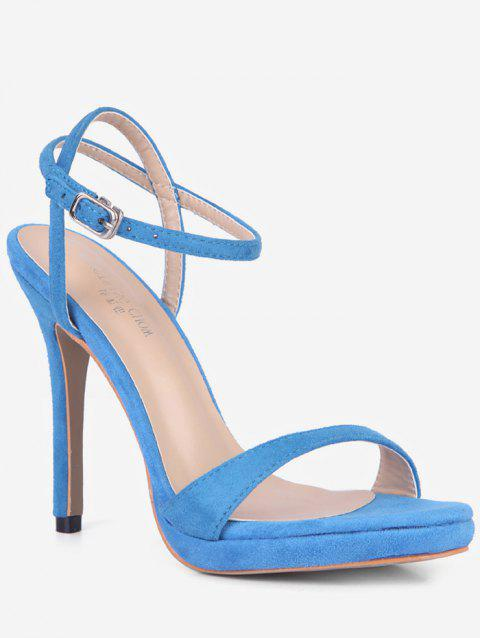 Ankle Strap Suede Sandals - LIGHT BLUE EU 35