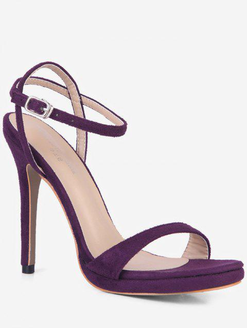 Ankle Strap Suede Sandals - PURPLE EU 35